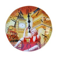 Glass Wall Clock Marylynn Monroe