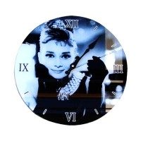 Glass Wall Clock Audrey Hepburn