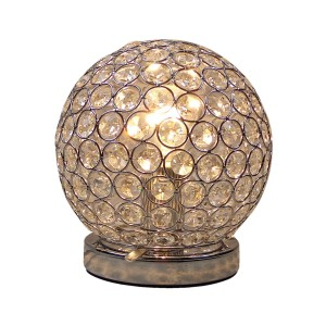 Chrome & Crystal Table Touch Lamp - Round