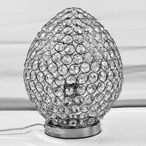 Chrome & Crystal Table Touch Lamp - Egg Shaped