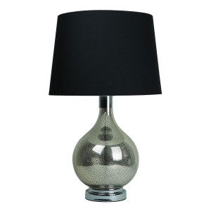 Classic Glass Table Lamp Teardrop Base Black Shade