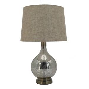Classic Glass Table Lamp Teardrop Base Linen Shade