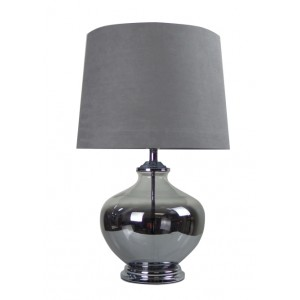 Classic Chrome Glass Table Lamp Grey Shade