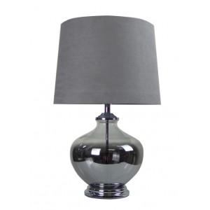 Classic Chrome Glass Table Lamp Grey Shade